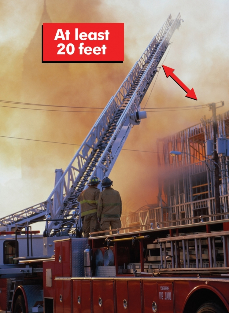 Ladder Fire Truck - 20 ft min clearance from electrical lines